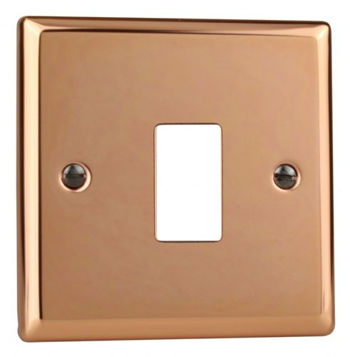 Varilight XYPGY1.CU Urban Polished Copper 1 Gang PowerGrid Plate (Single Plate)